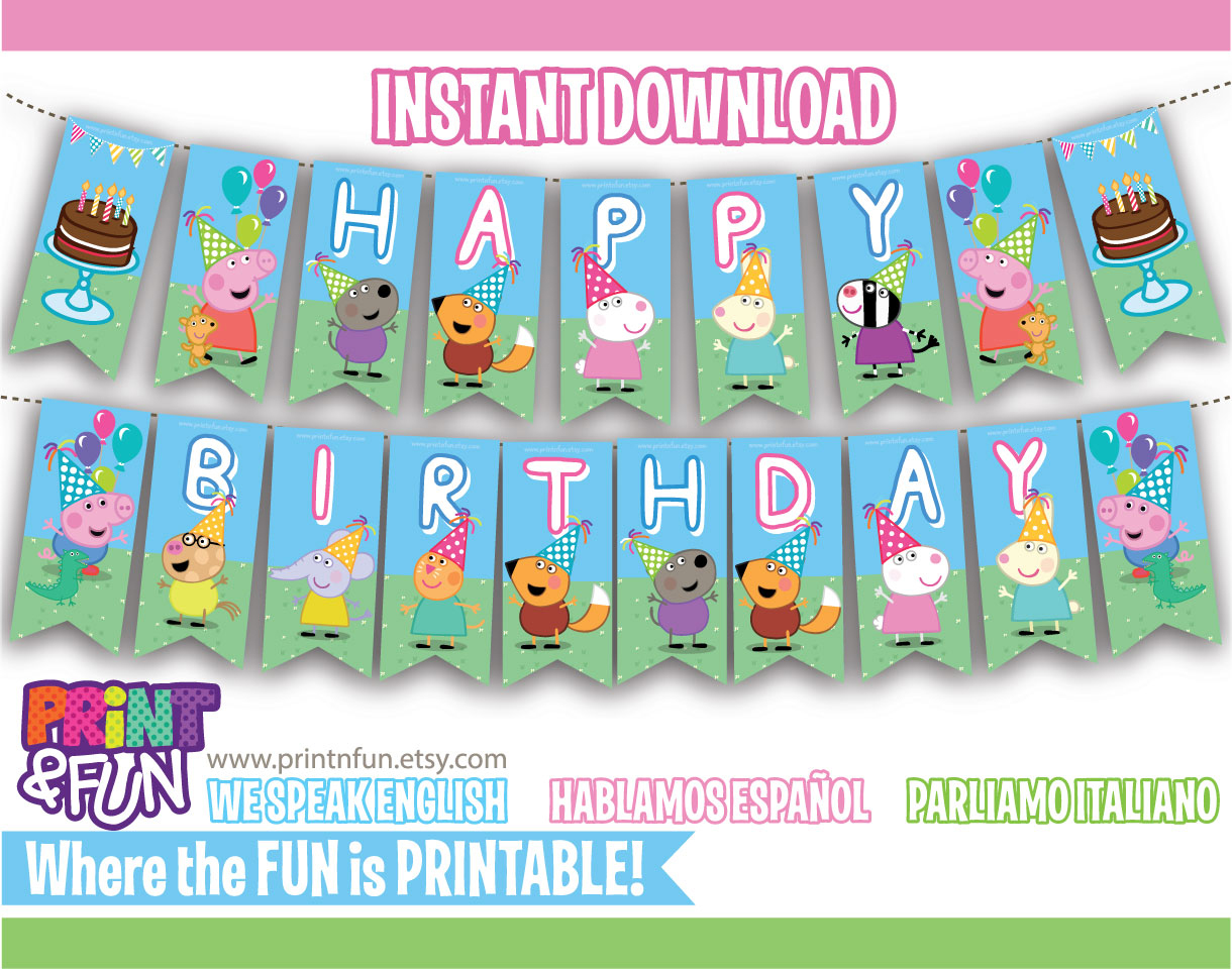 bunting banner peppa pig party printables descarga inmediata