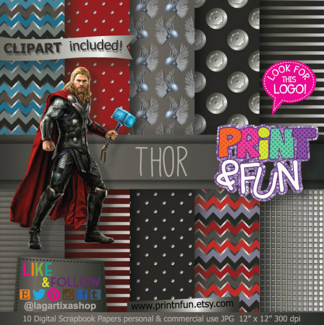 thor avengers superheroes digital paper patterns and free