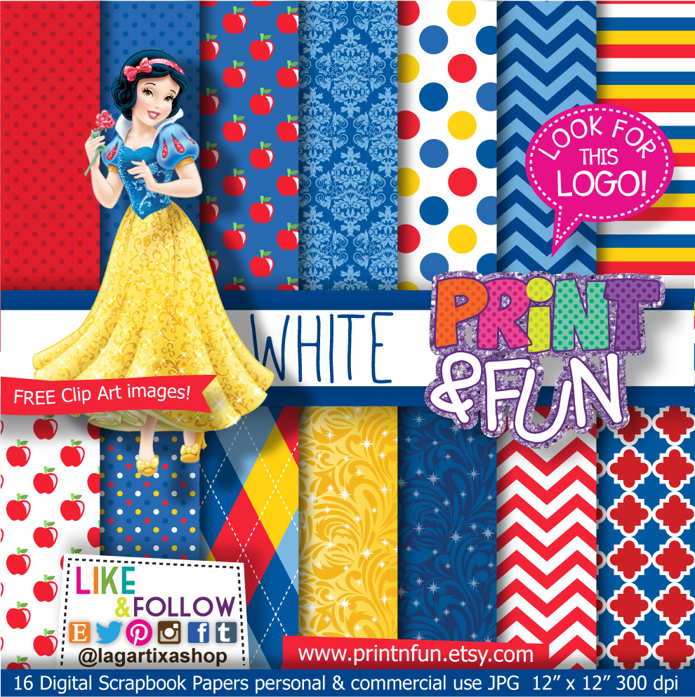 Snow White Blancanieves Digital Paper Patterns