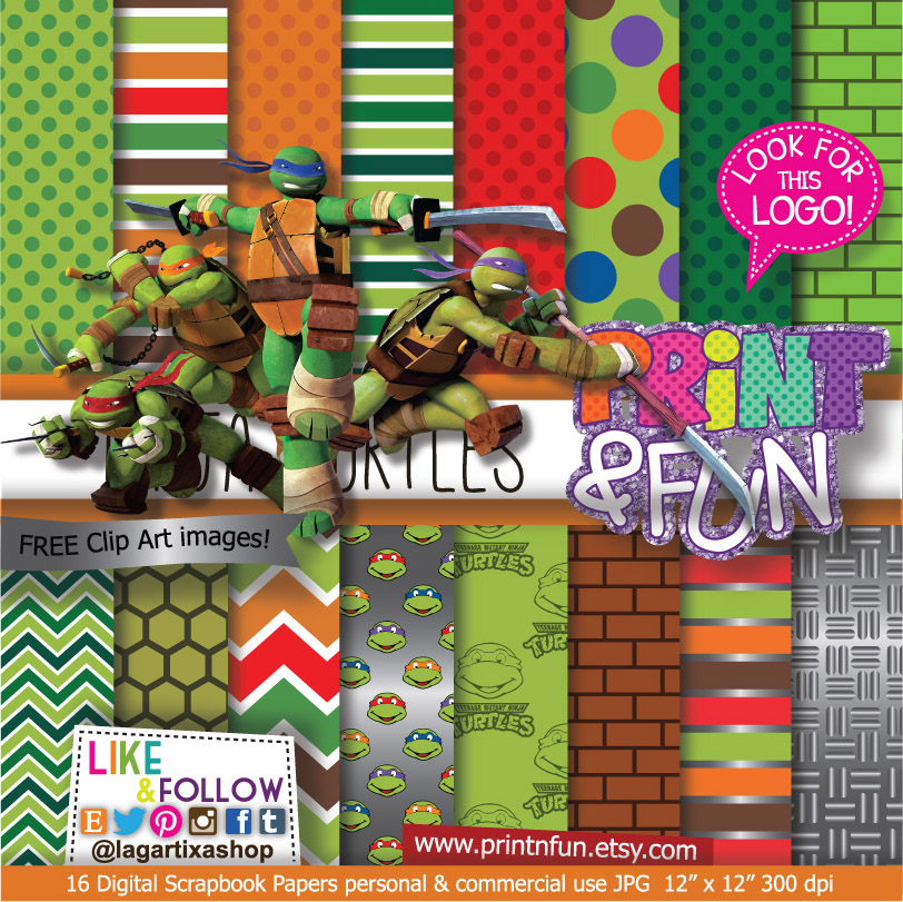 Teenage Mutant Ninja Turtles Digital Paper Patterns and FREE Clip art