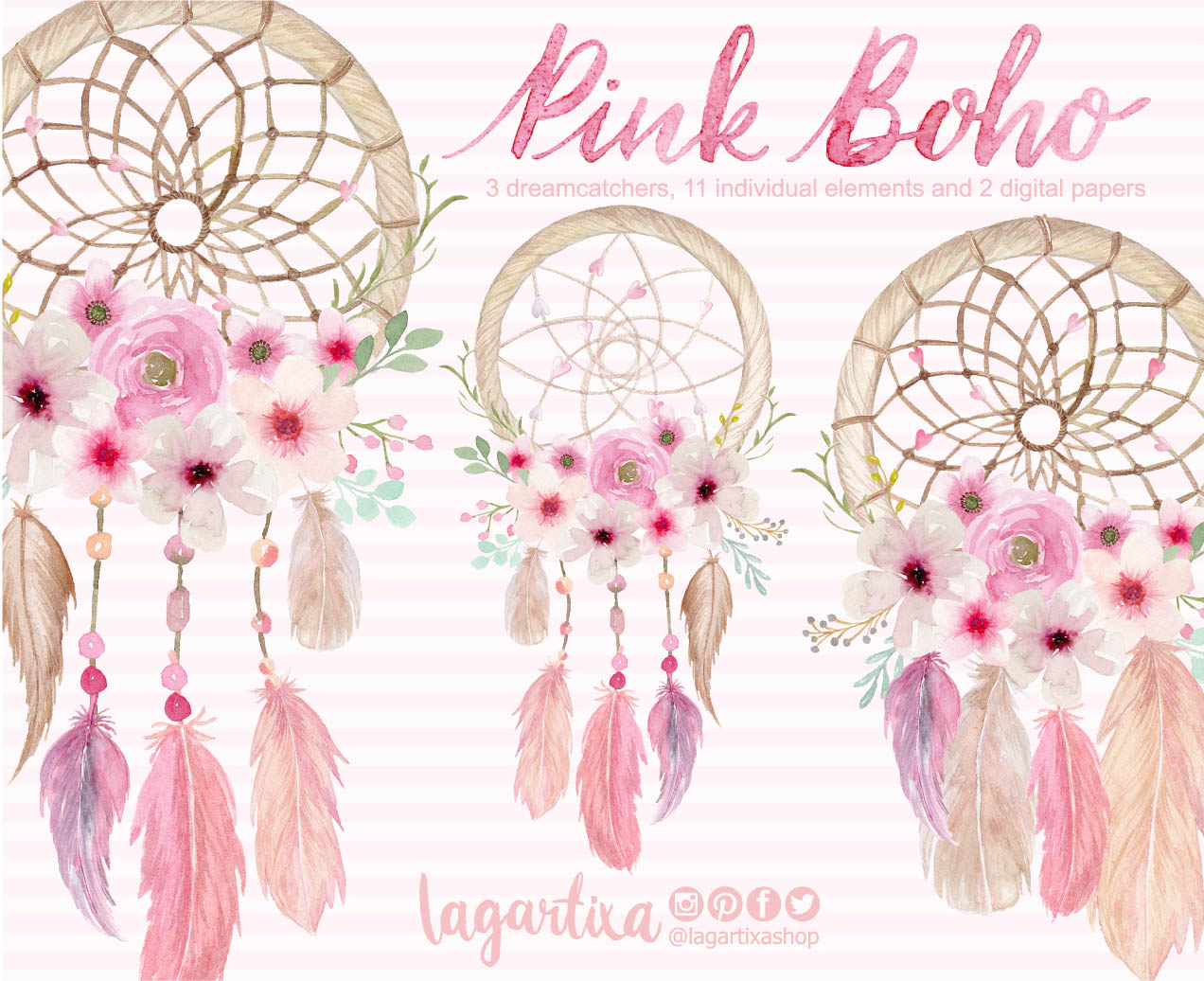 Dreamcatcher Watercolor Clipart Floral Png Wedding Bouquet