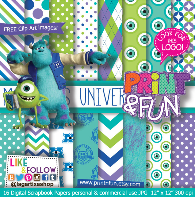 monsters university digital paper patterns and free clip art